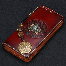 2017 Genuine Leather Buddha Head Wallets Embossing Bag Purses Women Men Long Clutch Vegetable Tanned Leather Wallet Card Holder