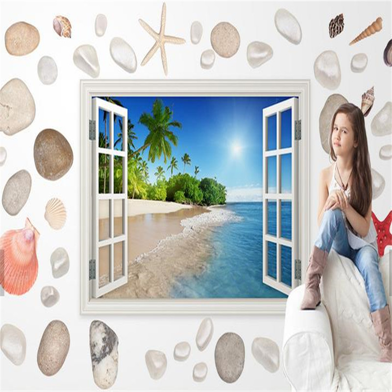 Custom Photo Wallpapers Naturals Landscape Sea Murals Wall Papers for Kids Cartoon Wallpaper Living Room Home Decor Tree Scenery custom photo size wallpapers 3d murals for living room tv home decor walls papers nature landscape painting non woven wallpapers