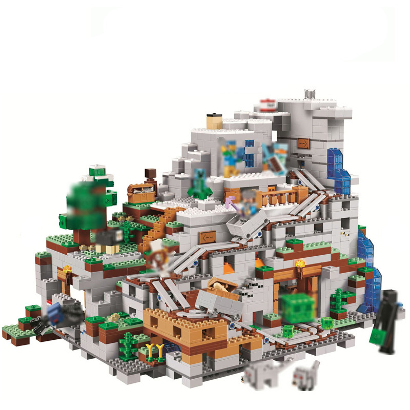 2886Pcs Minecrafted Figures The Mountain Cave Model Building Kits Blocks Bricks Toy For Children Gift Compatible LegoINGly 21137 10646 160pcs city figures fishing boat model building kits blocks diy bricks toys for children gift compatible 60147