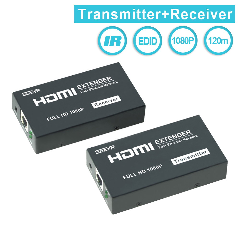 SGEYR HDMI Extender 120m HDMI Repeater with IR Remote support 1080P HDMI Ethernet font b Network
