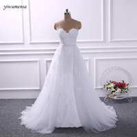 Yiwumensa Two Pieces Lace Mermaid Wedding Dresses With Detachable Train White Birdal Gowns Wedding Dress 2017