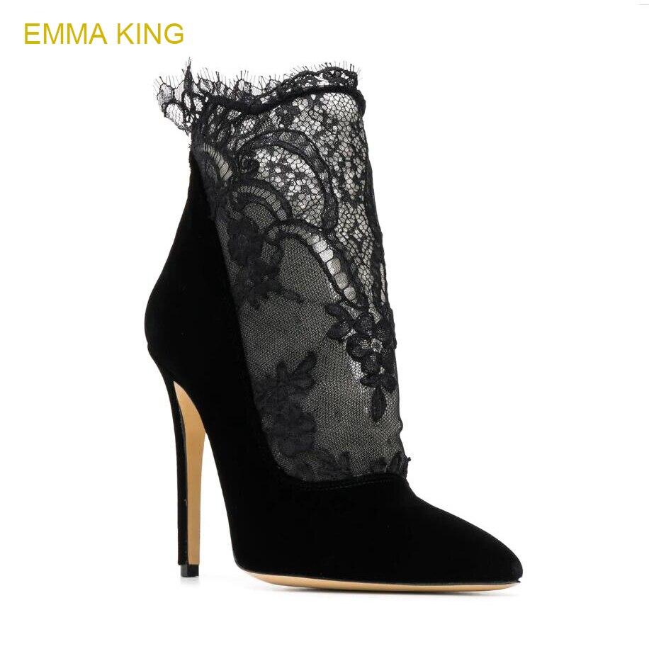 fe77c9407 Zapato King As Sexy Señoras De La Bomba Más Emma T Pic Tacón Las Encaje  Tobillo Negro 2018 Mujer Mujer Chelsea Alto Botas Zapatos Etapa Nuevo  FgnwnqxAad