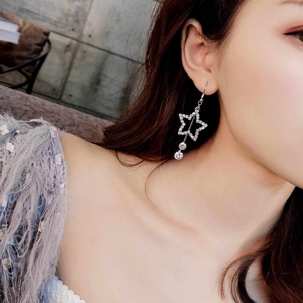 Flawless Elegant Women Lady Star ต่างหูคริสตัล Ear Stud Dangle Hoops เครื่องประดับของขวัญ Bijoux Professional เครื่องประดับ Pendientes