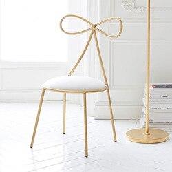 Качественное металлическое кресло, модный скандинавский барный стул для отдыха, современный стул для макияжа, обеденный стул с бантом, форм...