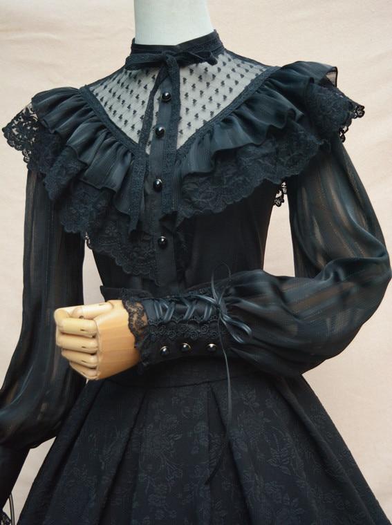 Chemisier en mousseline de soie Royal Vintage Illusion cou femmes Blouse gothique transparente à manches longues lanterne avec volants - 3