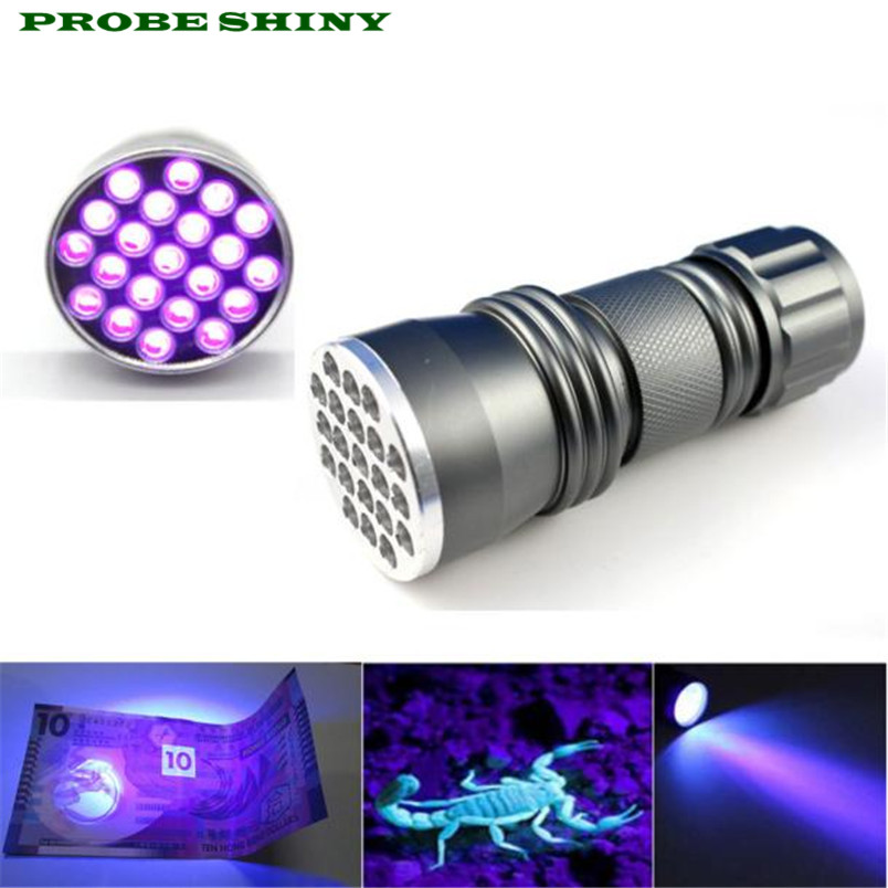 led bulbs UV UltraViolet flashlight led flashlight AAA battery 395 nM 21 LED Torch Lamp tactical Free Shipping #NN24