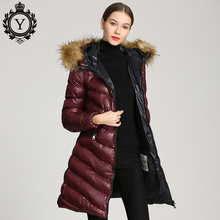 Coat Jacket Raccoon Fur Hooded Winter For Women Parkas mujer Long Down Cotton Warm 2019 COUTUDI New