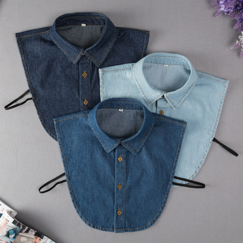 Denim Fake Collar Shirt Women 2019 New Removable Collars For Women Fake Collar Women Peter Pan Detachable Lapel Shirt Sahte Yaka