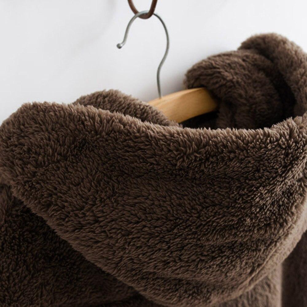 Women Hooded Coat Winter Warm Plush Pockets Cotton Coat Outwear Casual Hoodies Jacket Overcoat Top female outerwear 16