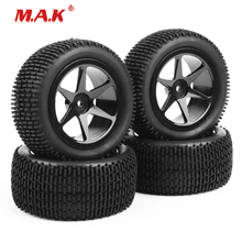 4Pcs/Set 1:10 Scale Off-Road Car Model Tires and Wheel with 6mm Offset fit RC Accessories 25037+27014