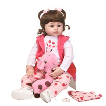 Nicery 22inch 55cm Bebe Reborn Doll Soft Silicone Boy Girl Toy Reborn Baby Doll Gift for Children Pink Girl Long Hair Lovely