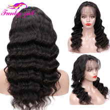 Funky Girl 360 lace frontal wig Pre Plucked With Baby Hair Wet Wavy Lace Wig Brazilian Body Wave Human Remy Hair Lace Front Wigs(China)
