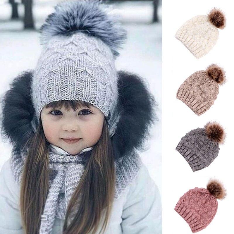 Cute Winter Hats For Kids Knitted Beanie Cap Fur Pompom Crochet Girls Warm Hats