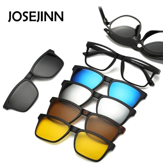 cb0aeb20f58 5+1 suit Fashion Clip On Sunglasses Women Frames Clips Magnetic Sunglasses  Magnet eyeglasses men