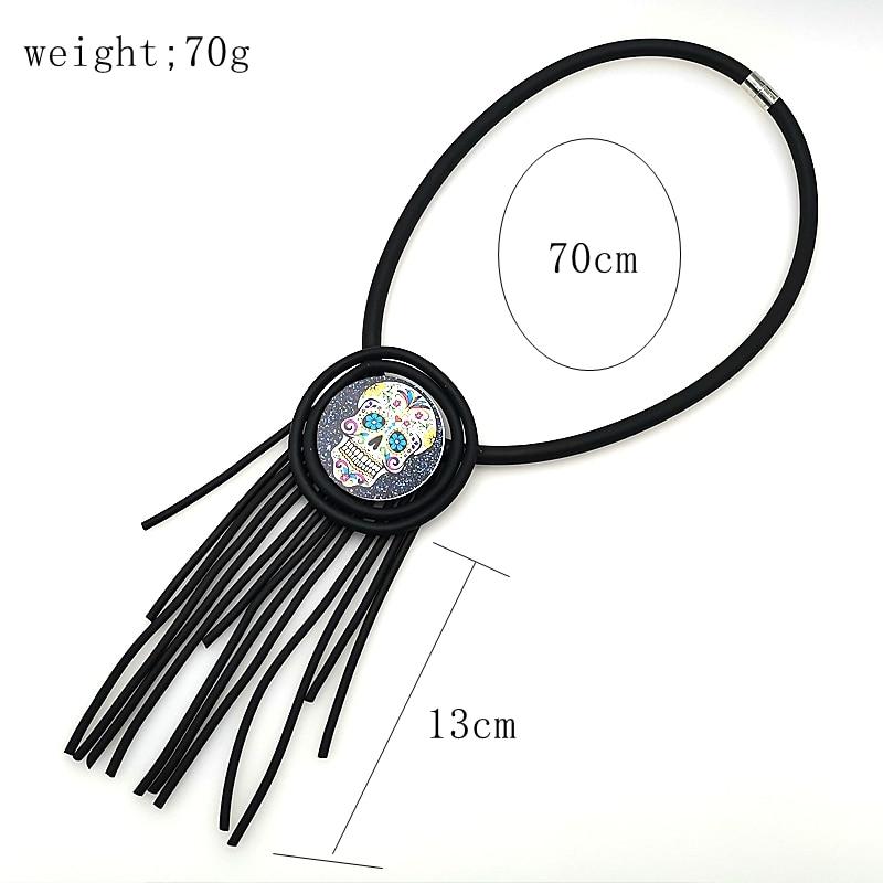 YD YDBZ New Skull Pendant Skeleton Head Necklace 2019 New Designer Fashion Tassel Leather Necklaces Handmade Jewelry Punk Style