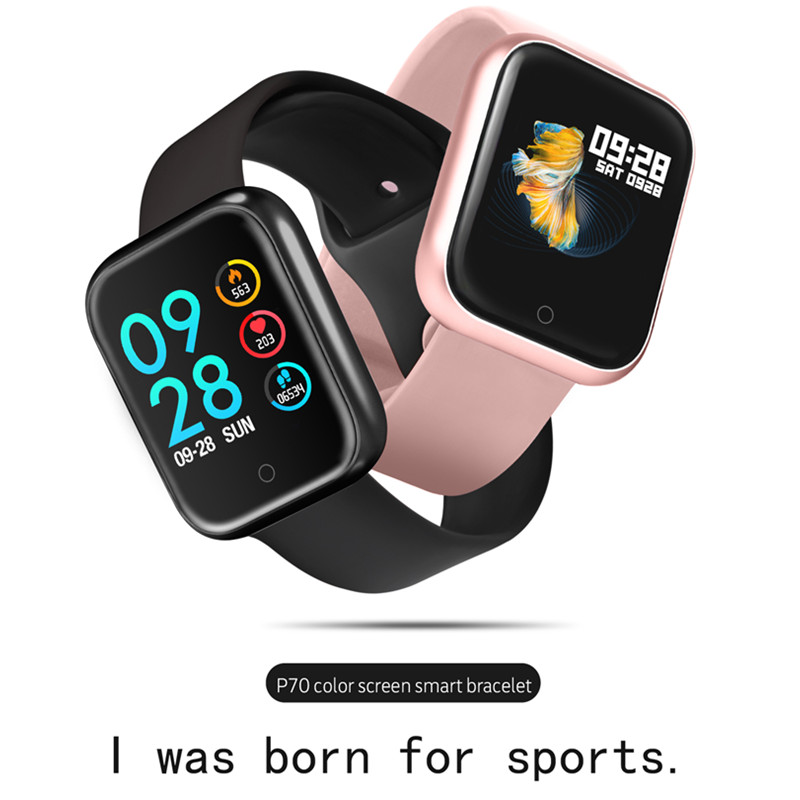 3 colors P70 smart wristband with heart rate monitor blood pressure call message reminder for iphone