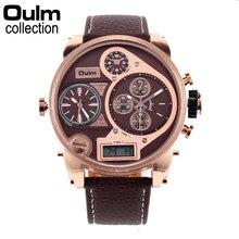 2016 Oulm Reloj Hombre Dual Time Ejército de Cuarzo Dial Grande Reloj Digital Hombres Marca de Lujo Perfecto Regalo Para Los Hombres