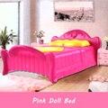 Принцесса Розовый Кровать Кукла Мебель Для Спальни Кукла Аксессуары Спальне Двуспальная Кровать С Подушкой Кровать Мебели Dollhouse Игрушки Для Девочки