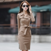 Spring and autumn new fashion V neck Solid color Slim was thin Package hip long section of professional Career Dresses AL7787
