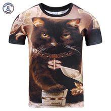 2017 Mr.1991INC New Fashion Men/ladies summer season tops T-shirt 3d printing  cat brief sleeve digital print 3d t shirt plus siz