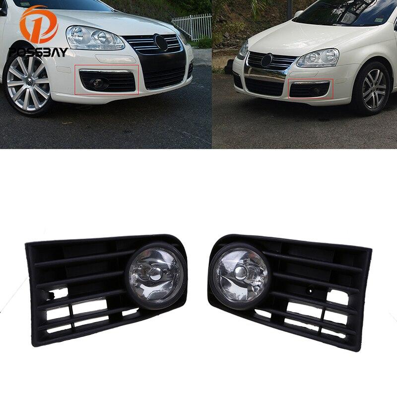 цена на POSSBAY Halogen Foglamp for 2004 2005 2006 2007 2008 2009 2010 VW Jetta/Bora/Golf Mk5 Front Lower Bumper Fog Lights Grille