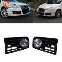 POSSBAY Halogen Foglamp for 2004 2005 2006 2007 2008 2009 2010 VW Jetta/Bora/Golf Mk5 Front Lower Bumper Fog Lights Grille