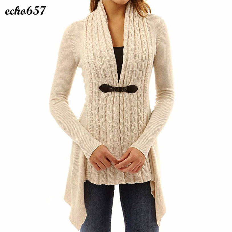 Hot Sale Women Fashion Sweaters Echo657 New Women Long Sleeve V-Neck Sweater Casual Knitted Cardigan Outwear Top Jan 3