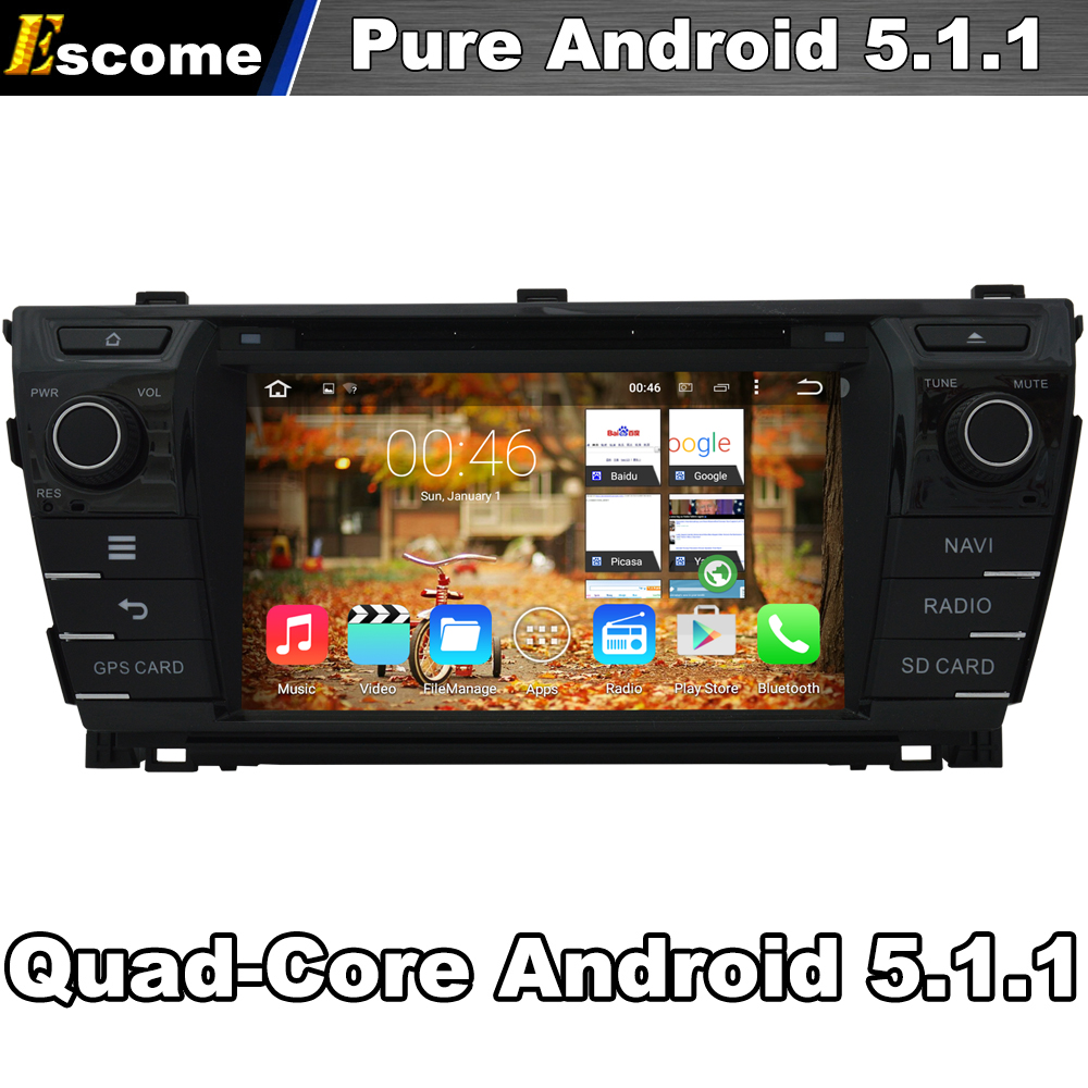 Pure Android 5.1 Car DVD for Toyota Corolla 2014 With Quad Core 2G ROM Bluetooth GPS Navigation 1024*600 Touch Screen