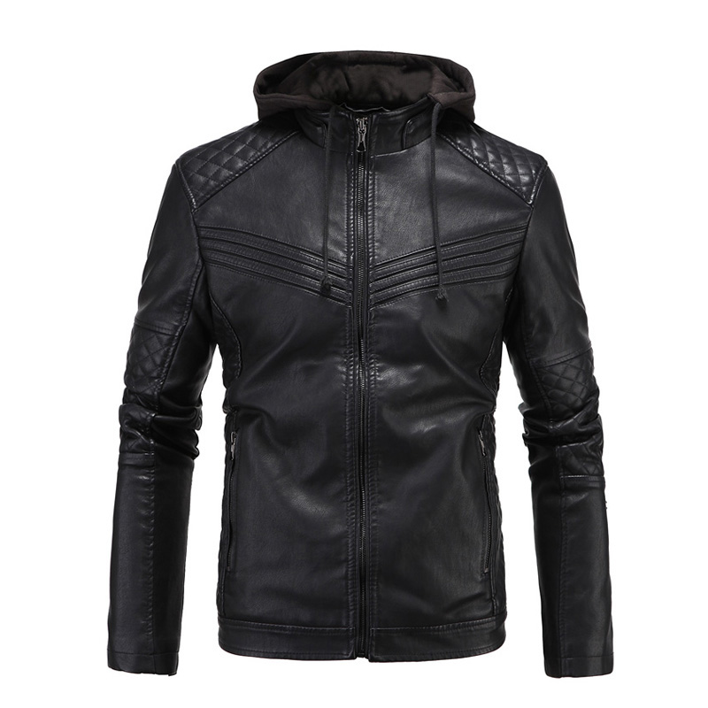 New Retro Vintage Motorcycle Jacket Men PU Leather Jackets With Hooded Slim Fit Jackets Biker Clasic Coats Motorcycle Clothes destroyed slim fit biker jeans
