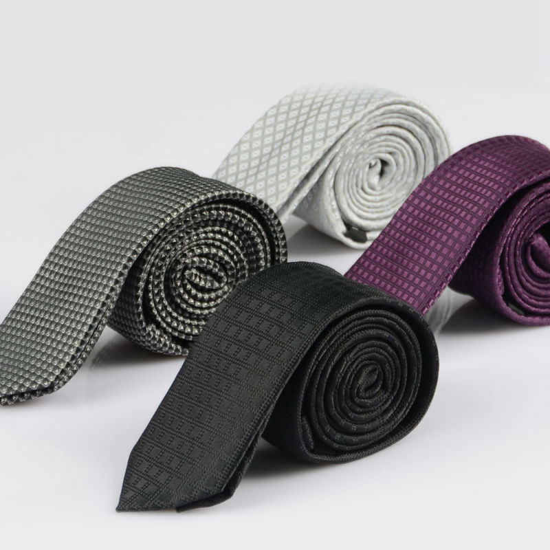 New Men's Classic Slim Ties Polyester Woven Party Neckties Fashion Plaid Man Tie For Wedding Business Male Spring Tie