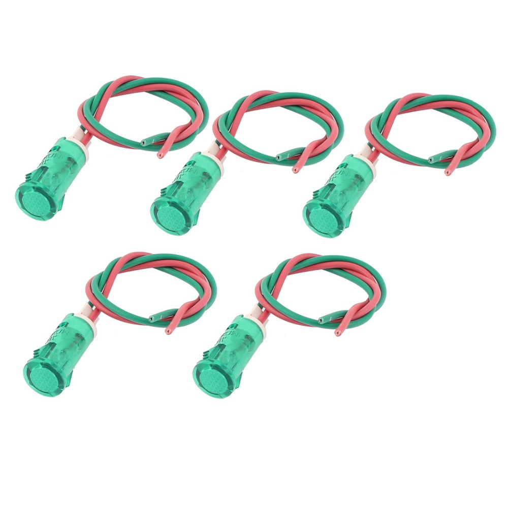 Uxcell Hot Sale 5 Pcs AC 220V Electric Bicycle Plastic Wire LED Pilot Signal Indicator Light High Quality Professional Lighting hanrun hr911105a diy rj45 network adapters w indicator light silver black 5 pcs