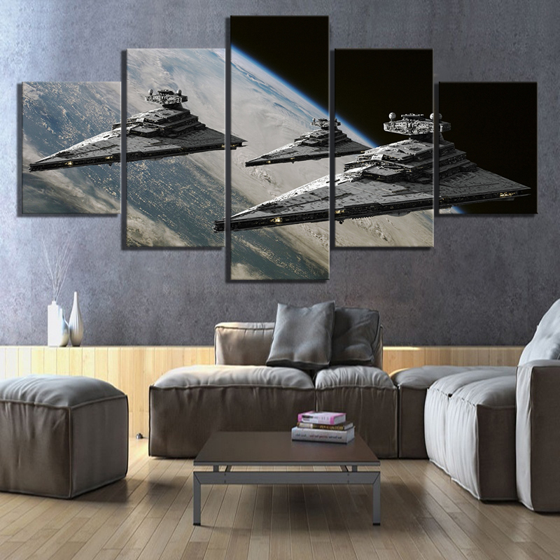 5 Piece Fantasy Art Spaceship Picture Star Wars Science Fiction Movie Poster Paintings Canvas Art for HD Home Decor Wall Art image