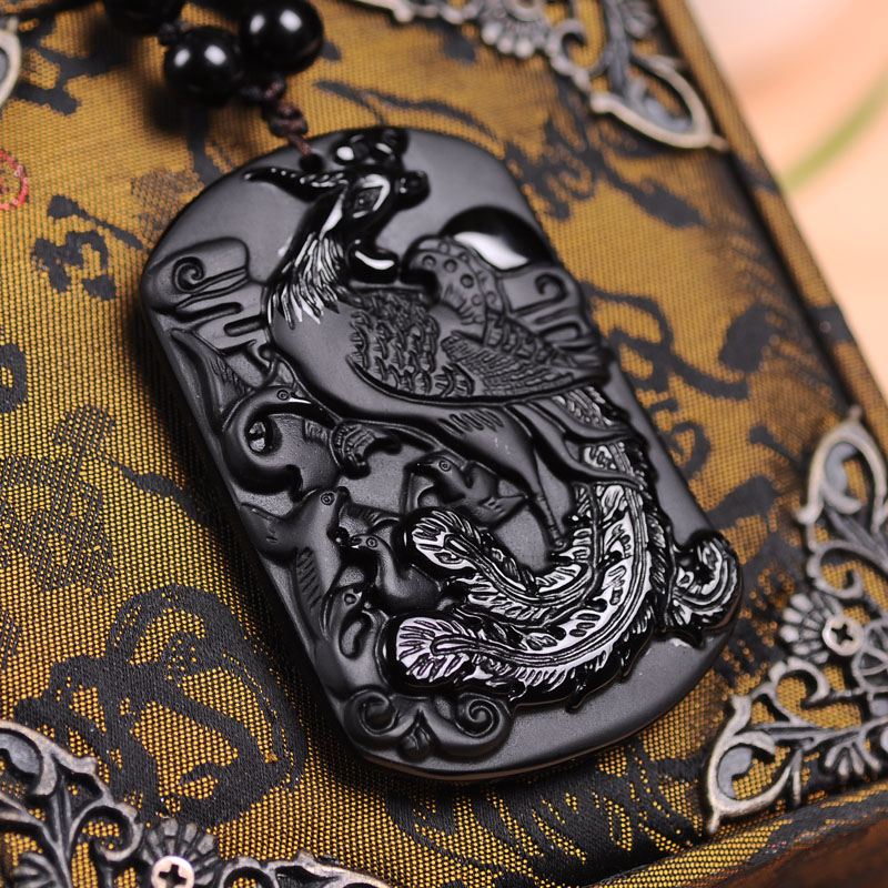 100 Natural Black Obsidian Stone Carving Chinese Phoenix Pendant Women Mens Amulet -5686
