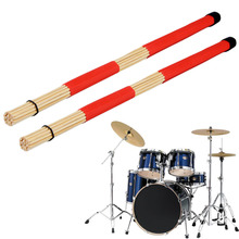 1 Pair of Jazz Drum Brushes Red Rubber Handle with White Nylon Drum Brush free shipping