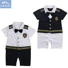 Bebê menino capitão piloto marinha macacões infantil tddler shrt manga  marinheiro marinha 2019 roupas de verão traje do bebê nes. f472944f974