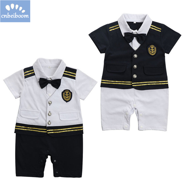 abd1ba90bde0 Baby boy captain pilot marine jumpsuits infant tddler shrt sleeve ...