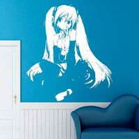 Anime Girl Vinyl Wall Decal Girl Long Hair Anime Japanese Cartoon Hair Salon Mural Wall Sticker Girls Bedroom Home Decoration