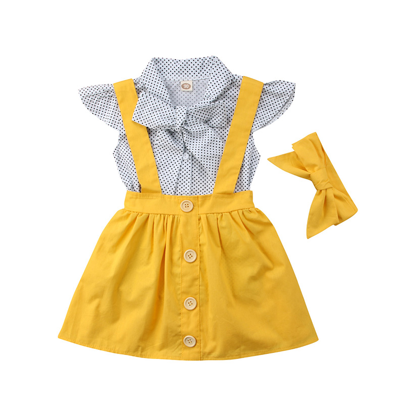 3PCS Set Toddler Kids Girl Clothes Fly Sleeve Dots Bowtie Blouse Shirt Tops+Overall Dress Headband Outfit Princess Costume