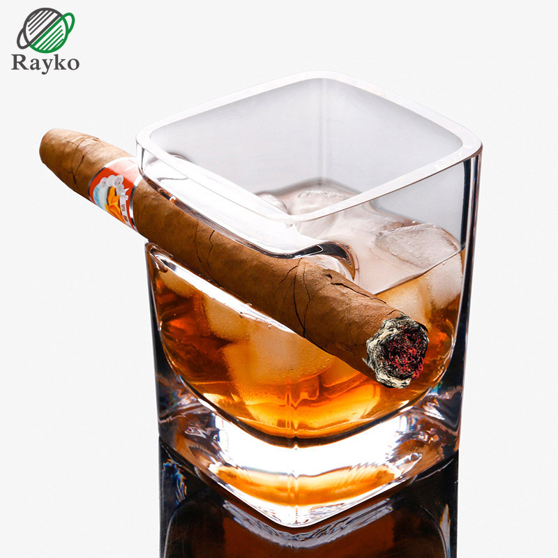 RAYKO Whisky Cigar Cigarette Cup Glass Drink Crystal Drinking Wine Juice Cup Originality Creative Thickening Square Glasses GL22