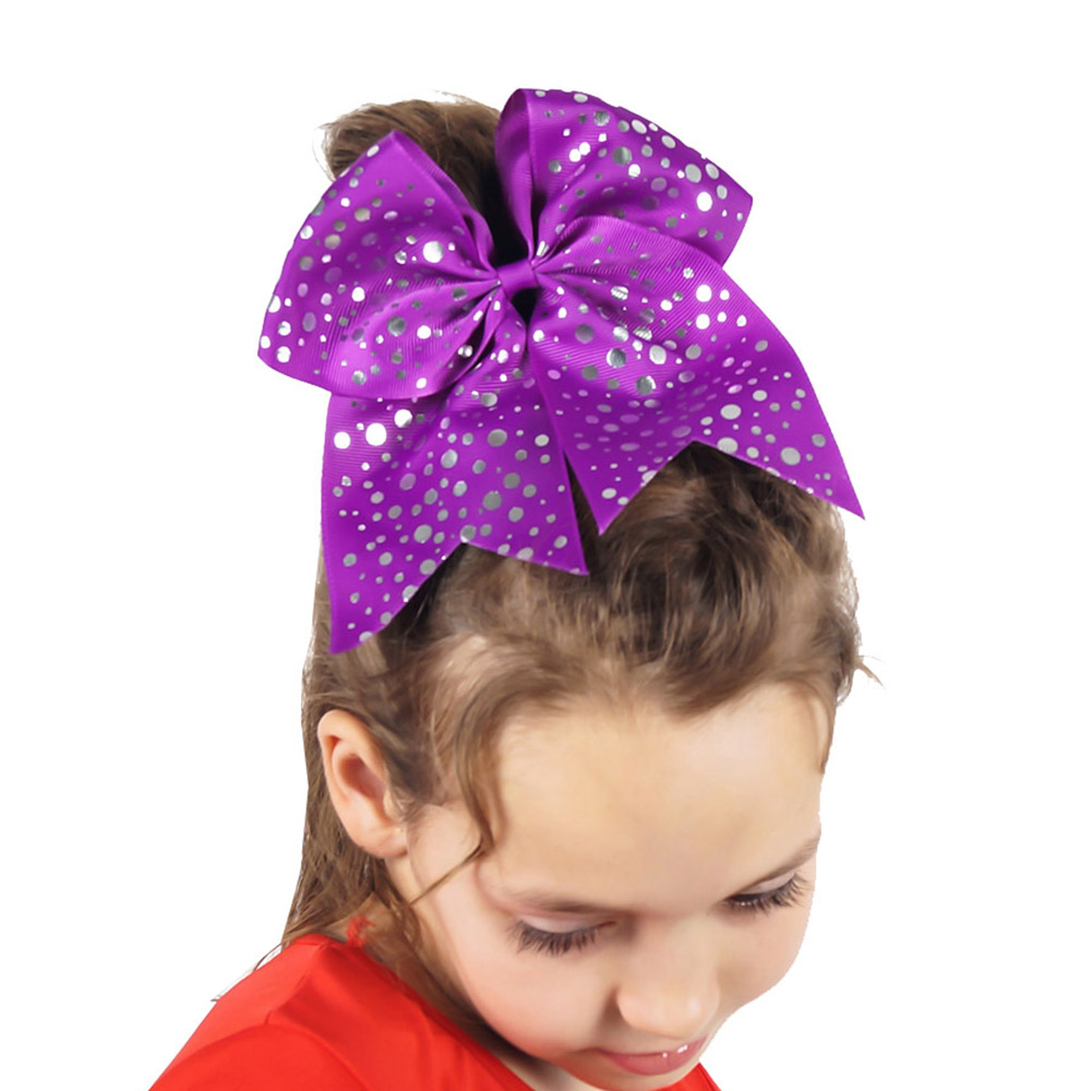 7.5''  Large Sliver Dots Cheer Bow for Pretty Girls Handmade Grosgrain Ribbon Hair Bows with Elastic Band Hair Accessories 10pcs lot high quality hair band with grosgrain ribbon flower for girls handmade flower hairbow hairband kids hair accessories