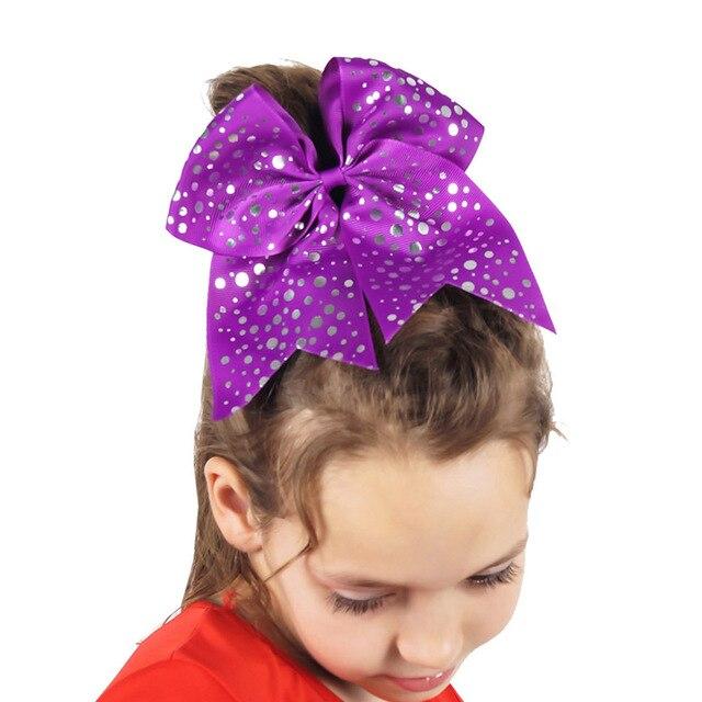 75 Large Sliver Dots Cheer Bow For Pretty Girls Handmade Grosgrain Ribbon Hair Bows