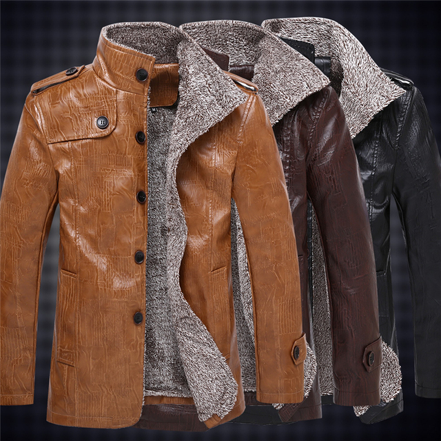 2017 England Style Classic Men Long Leather Casual Jacket PU Fashion Plus Size Men's Slim Fit Jacket Winter Warm Fur Coat XT324