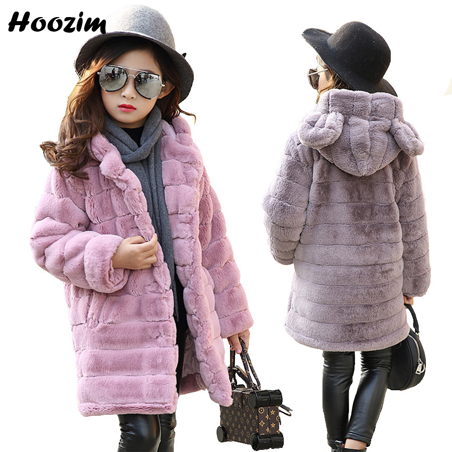 Winter Long Jacket For Girls 10 11 12 Years Fashion Faux Fur Coat Kids Pretty Thick Parka Children Autumn Teenage Girls Clothing children jacket print flower thick warm faux fur coat kids pretty winter hooded button long jacket for girls autumn girls coat