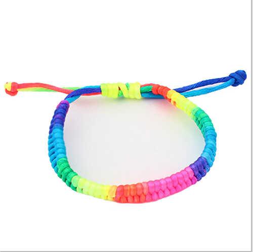 Дом и гнездо Новый стиль! Регулируемый Радуга флуоресцентные Цвета плетеный браслет красивая мода для Для женщин друг подарок Оптовая H211