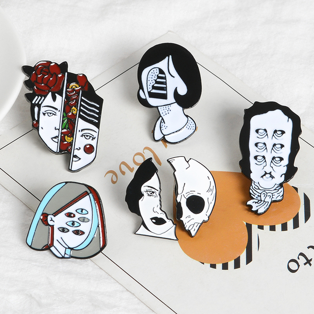 Halloween Split Face Lapel Pins