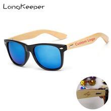 LongKeeper 50 יח\חבילה מותאם אישית לוגו מקוטב משקפי שמש נשים גברים עץ במבוק אמיתי עץ זרועות שמש משקפיים מראה Gafas