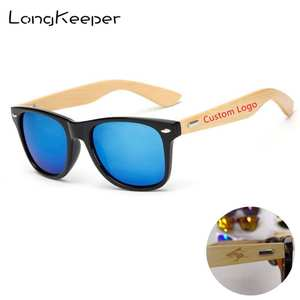 LongKeeper 50pcs/lot Customized Logo Polarized Sunglasses Women Men Wood Bamboo Real Wooden Arms Sun Glasses Mirror Gafas