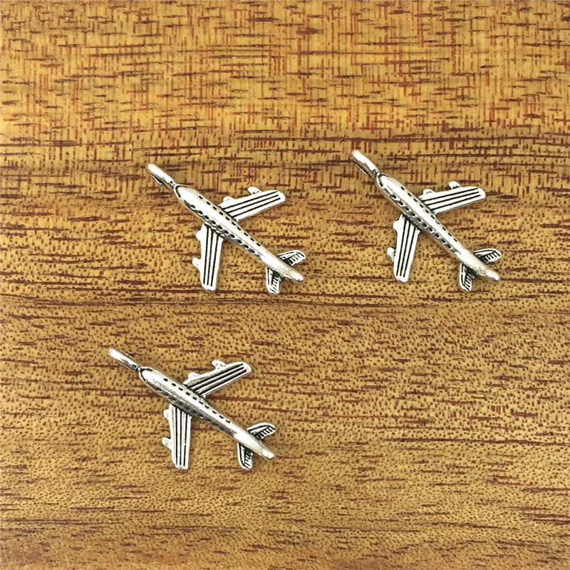 20pcs Glamour Airplane 24*15mm Tibetan Silver Plated Pendant Antique Jewelry Accessories DIY Crafts image