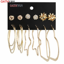 ФОТО 6 pairs/set punk style big circle earrings set for women vintage gold plated crystal stud earring set mixed party jewelry