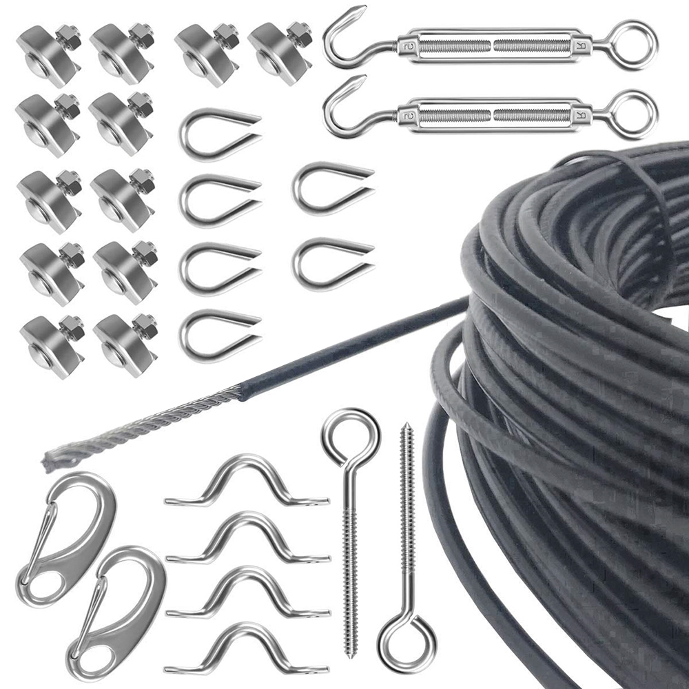 Heavy Duty Hardware Kit Hanging Kit 110ft PVC Coated Stainless Steel Wire Cable with Turnbuckle Hook evans b14hdd 14 genera heavy duty dry coated